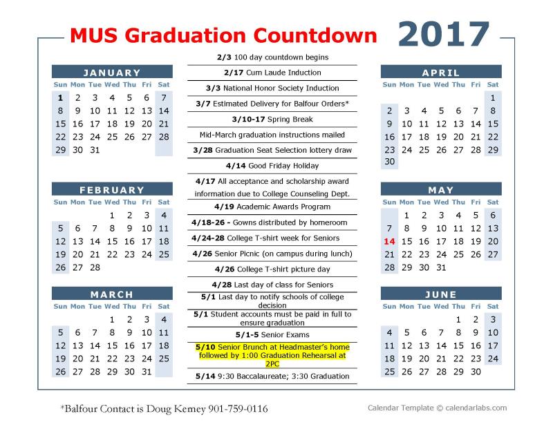 100 day calendar for srs 2017